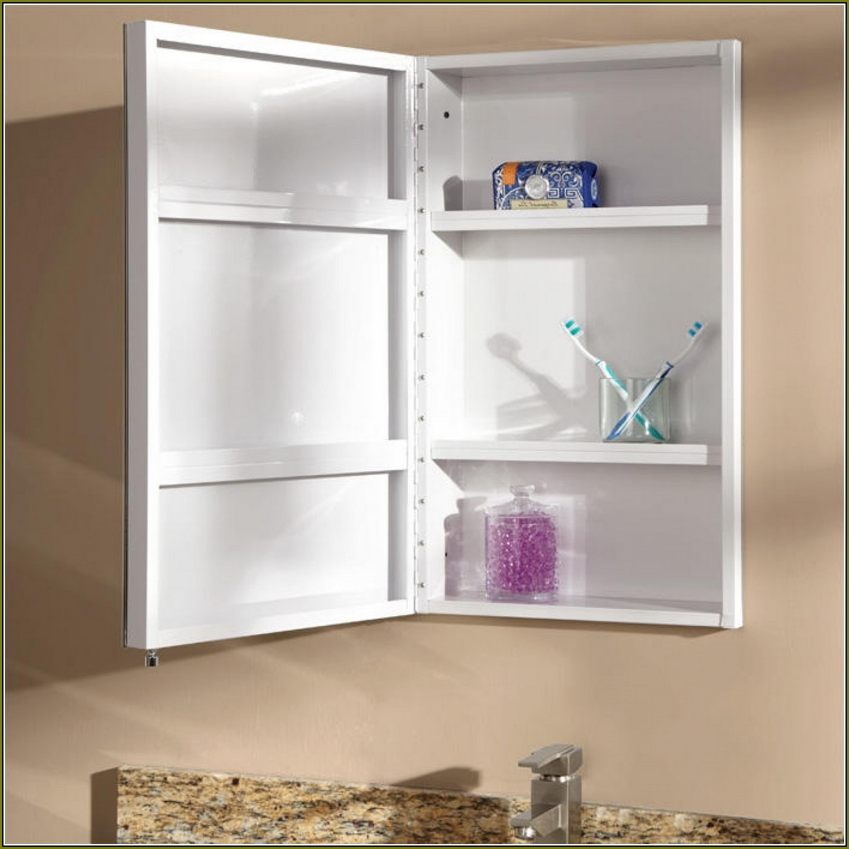 Recessed Bathroom Cabinet Without Mirror