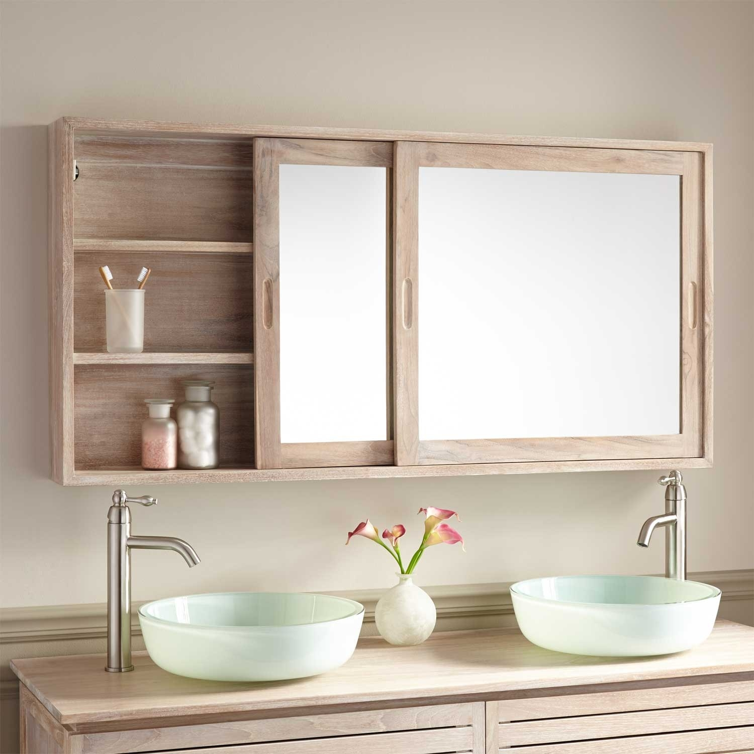 Shallow Bathroom Cabinet With Sliding Doors