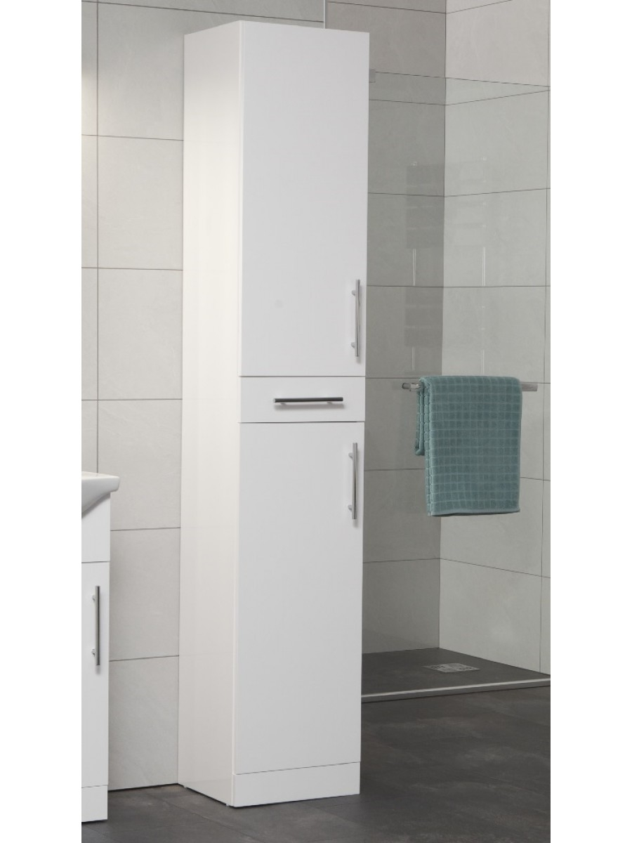 Tall Free Standing White Bathroom Cabinet