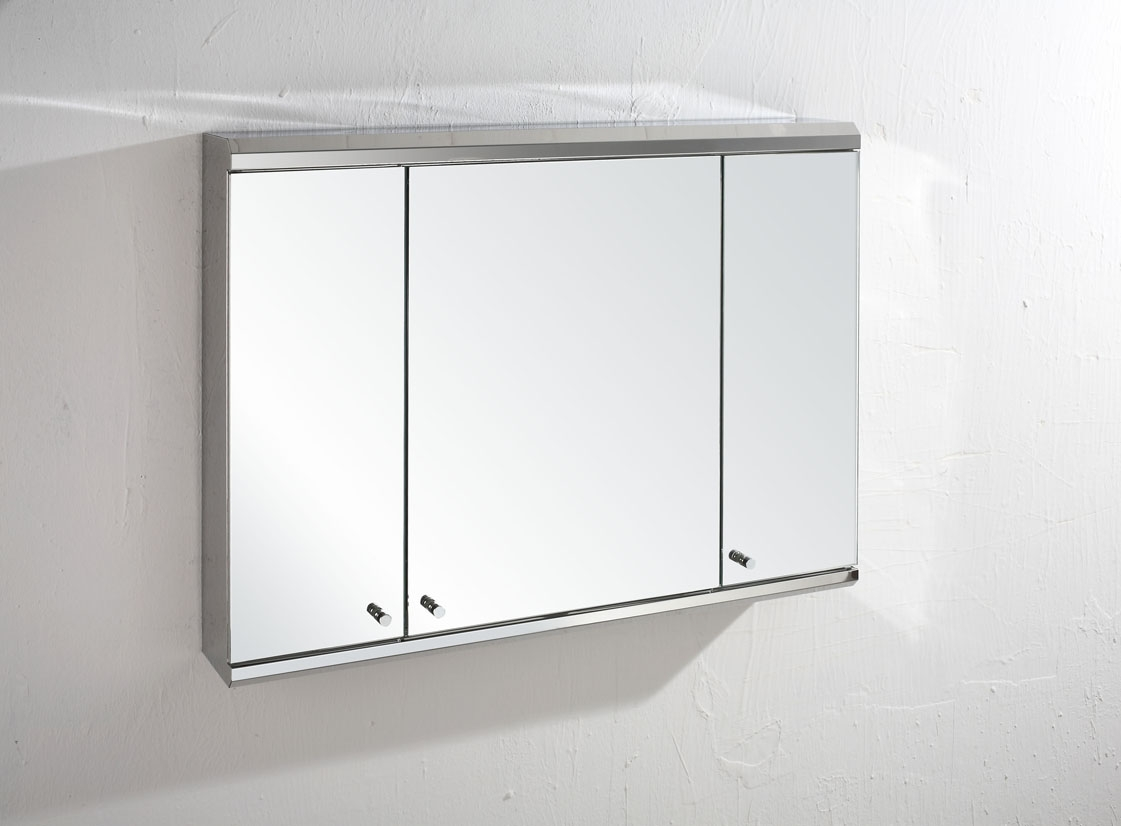 Permalink to Triple Door Mirrored Bathroom Cabinet