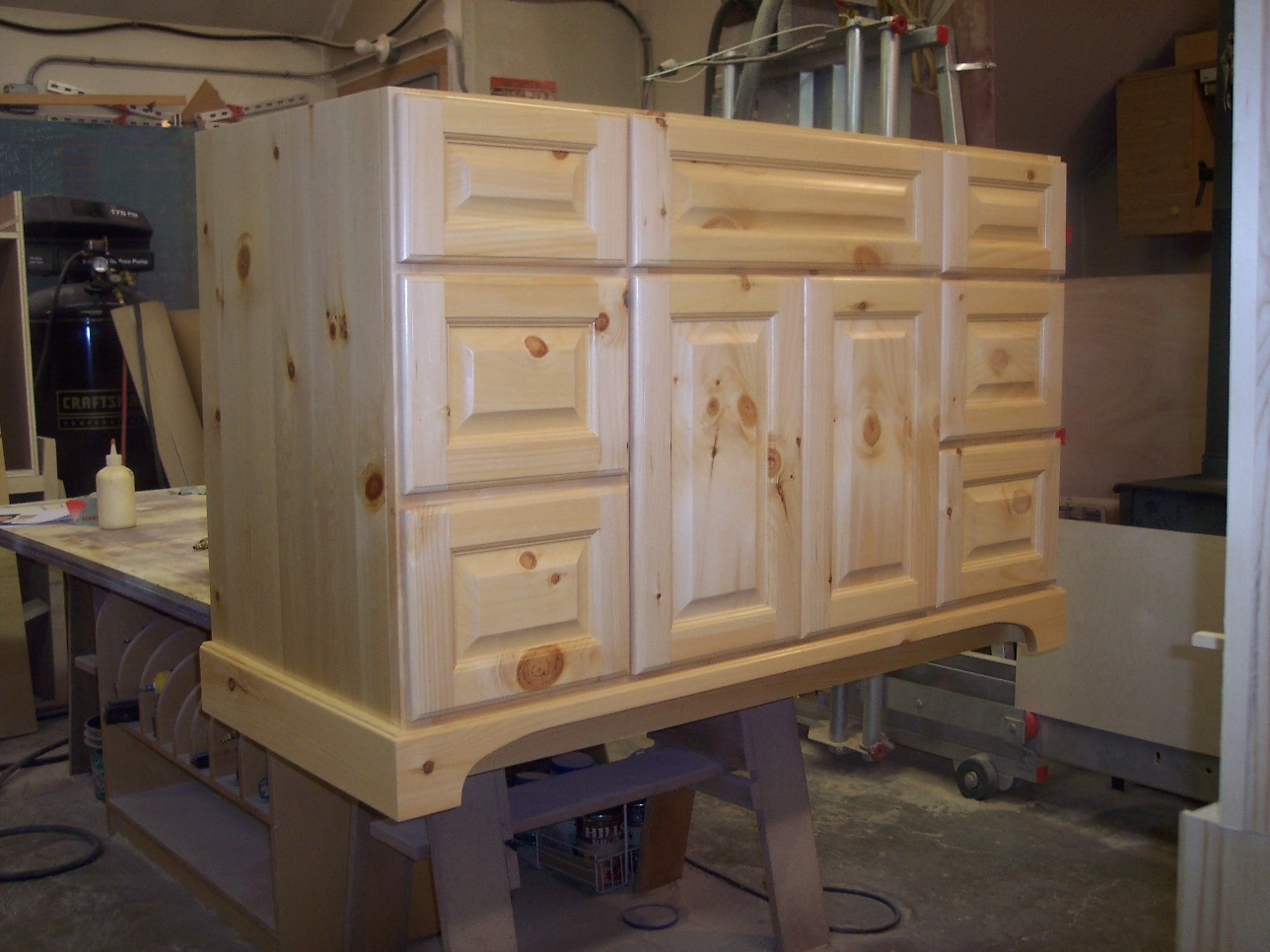 Unfinished Knotty Pine Bathroom Cabinets