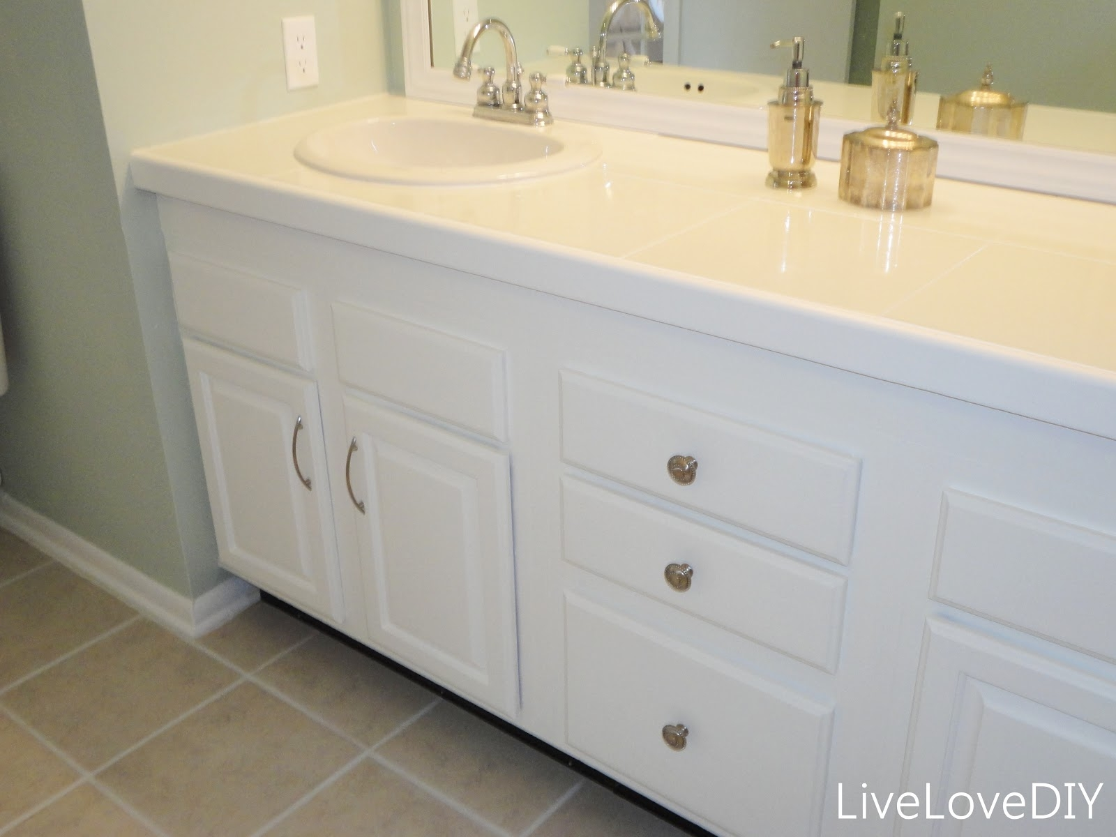 Updating White Bathroom Cabinets