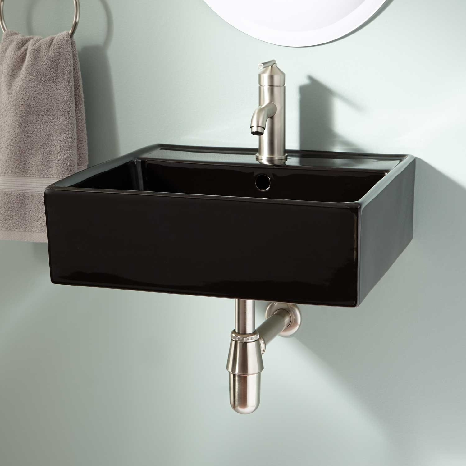 Wall Mounted Bathroom Sink Black