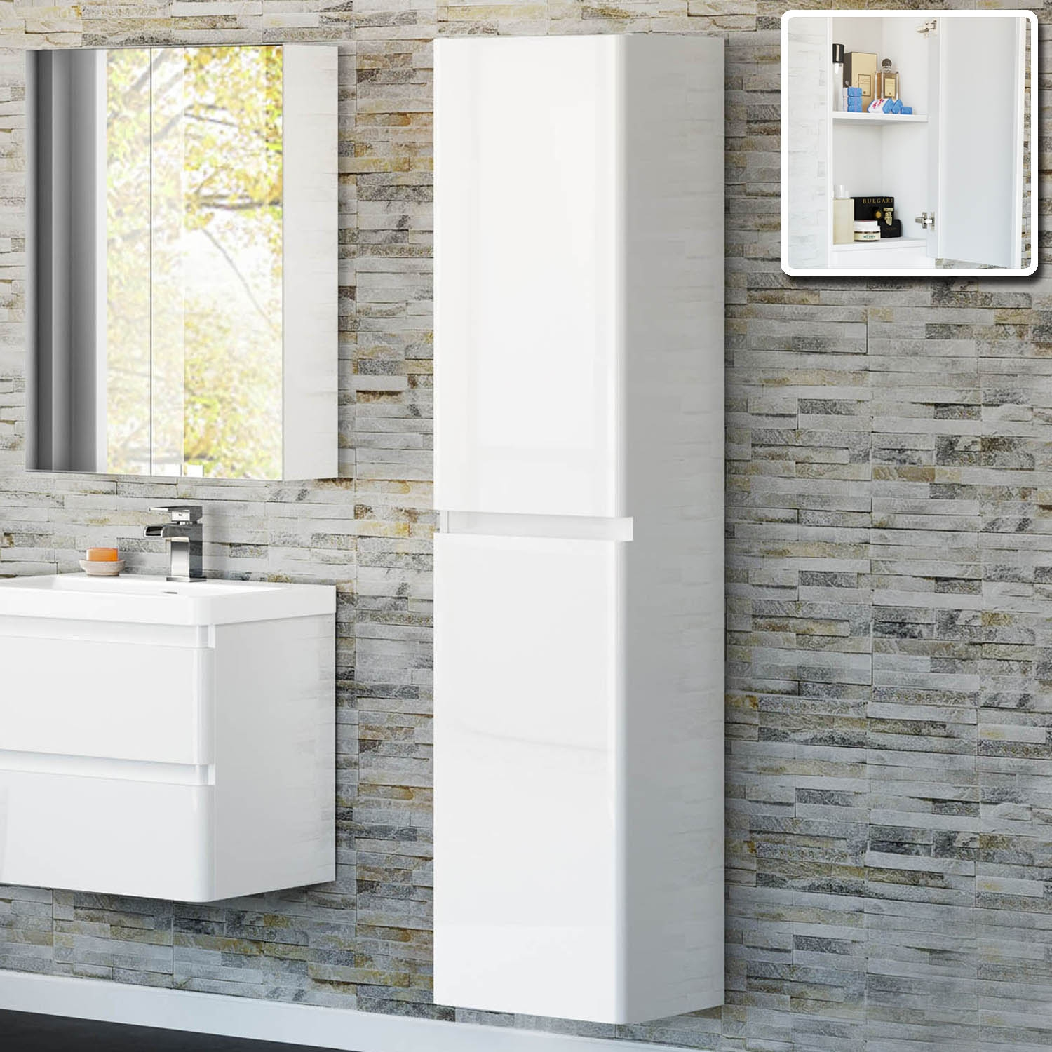 White High Gloss Bathroom Wall Cabinets