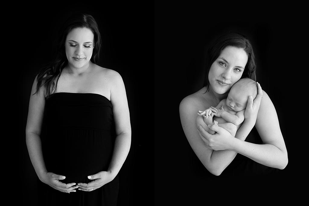 fotografia preto e branco mãe segurando o bebê antes e depois gestante e newborn fotografia em são paulo pinheiros