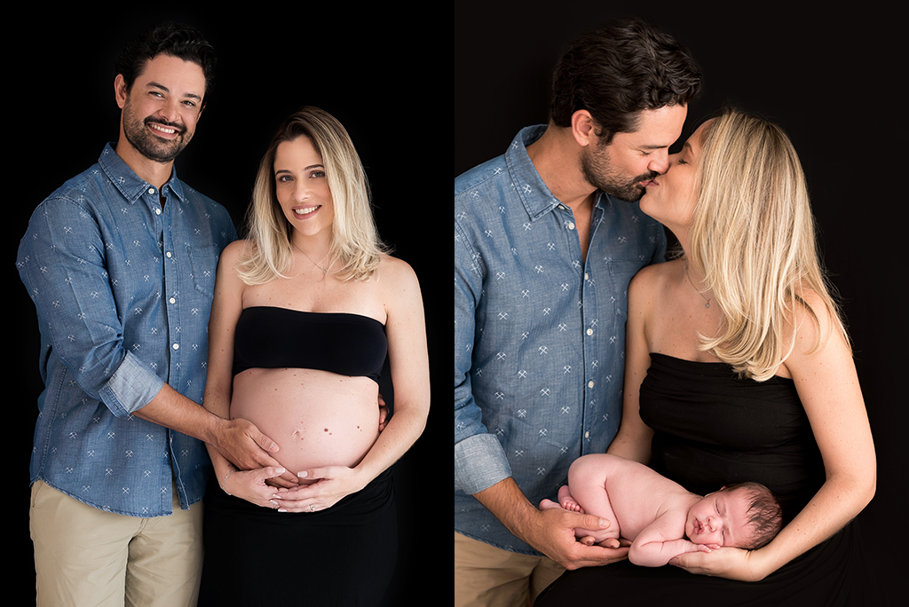 fotos de família com fotos antes e depois do ensaio gestante e com bebê