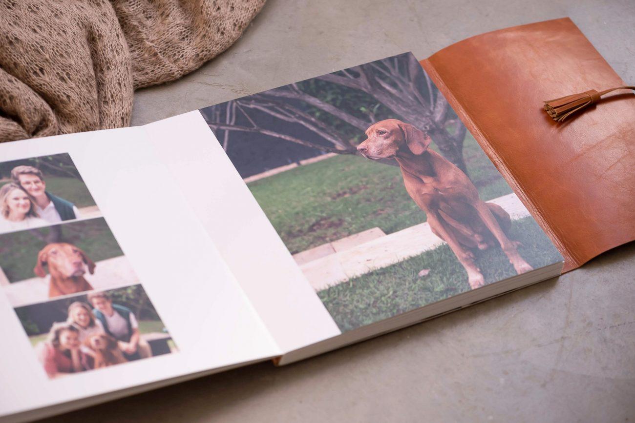 álbum de fotografia de qualidade capa de couro papel fotógrafico fotógrafa laura alzueta professora de fotografia newborn e de família fotos com cachorro fotos com pets