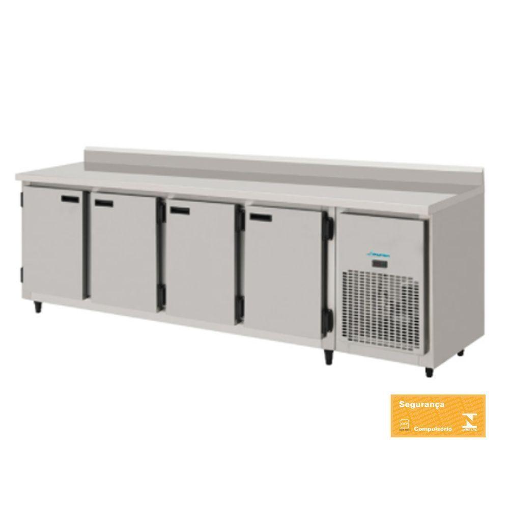 Balcão Refrigerado Encosto 4 Portas 2,5 mts Total Inox Kofisa
