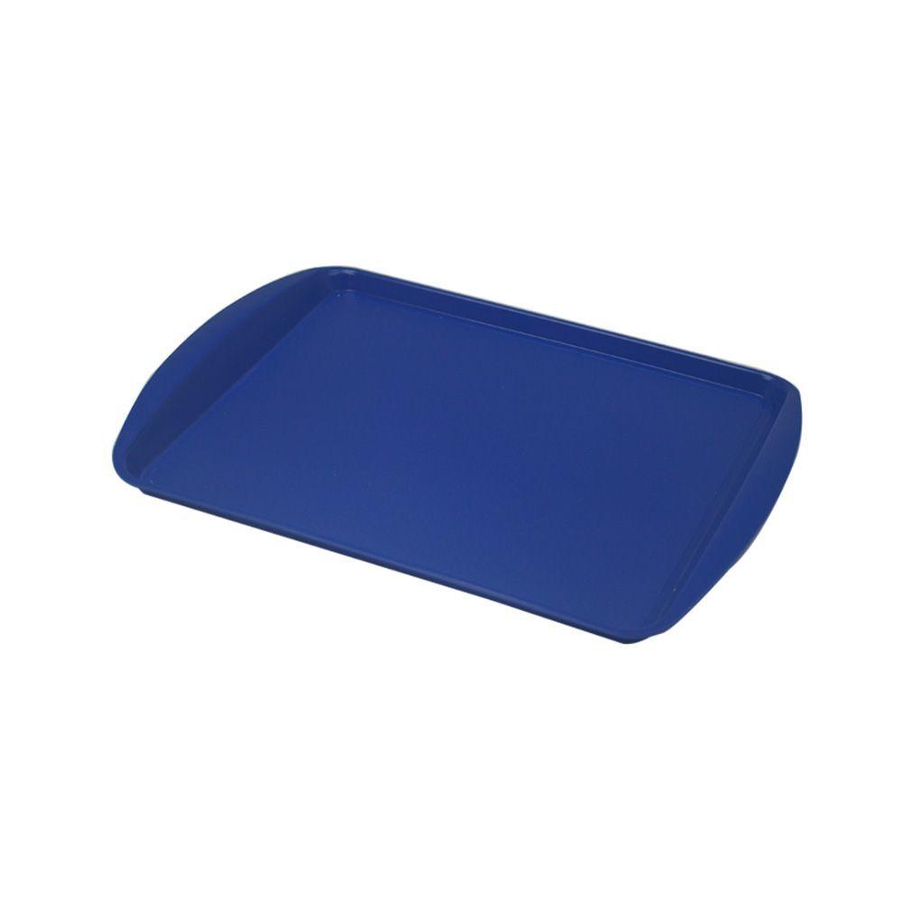 Bandeja Plástica Azul para Fast Food 43x30 cm S300 Kit 50 pçs