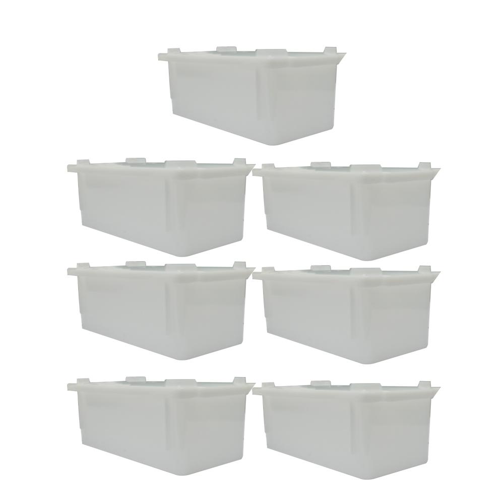 Caixa Plástica Branca Empilhável com Tampa 32X16X12 cm de 4,5 Litros S350 Kit 7 pçs