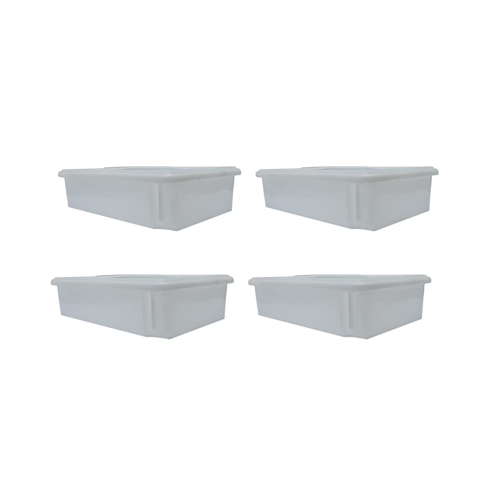 Caixa Plástica Branca Empilhável com Tampa 33X53X12 cm de 15 Litros S750  Kit 4 pçs