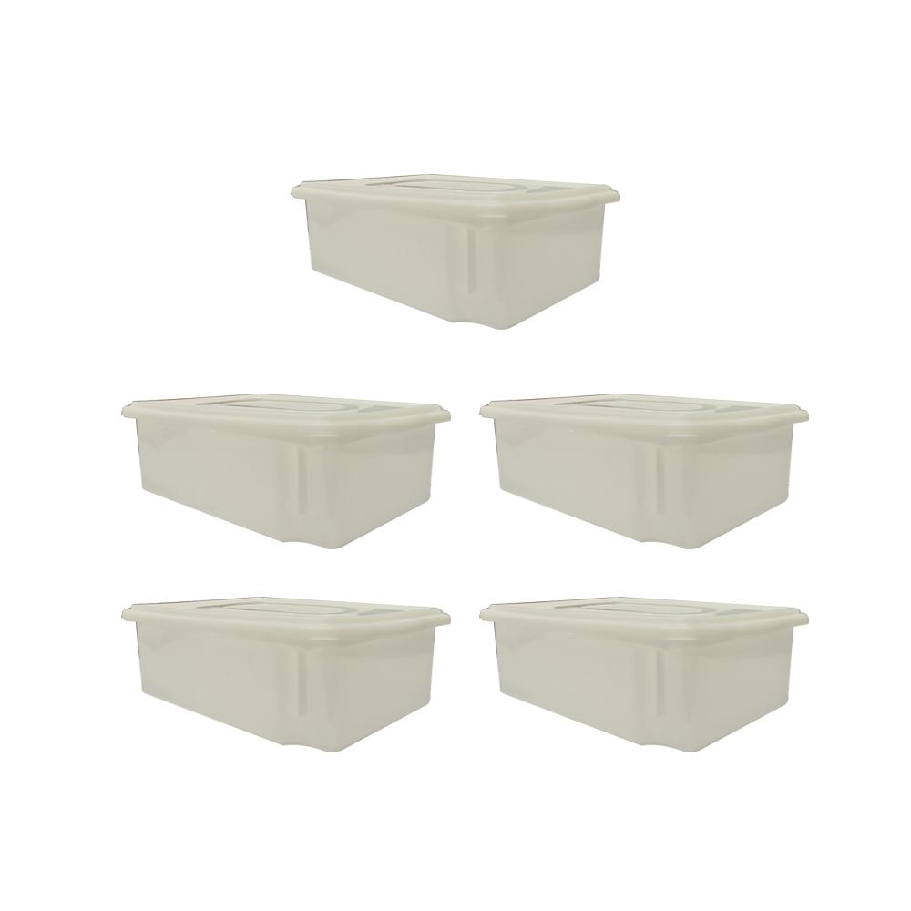 Caixa Plástica Branca Empilhável com Tampa 41X29X12 cm de 11 Litros S500  Kit 5 pçs