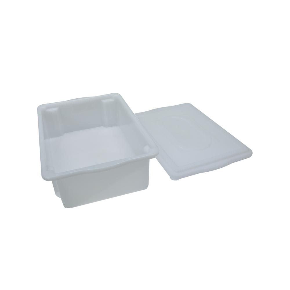 Caixa Plástica Branca Empilhável com Tampa 41X29X12 cm de 11 Litros S500