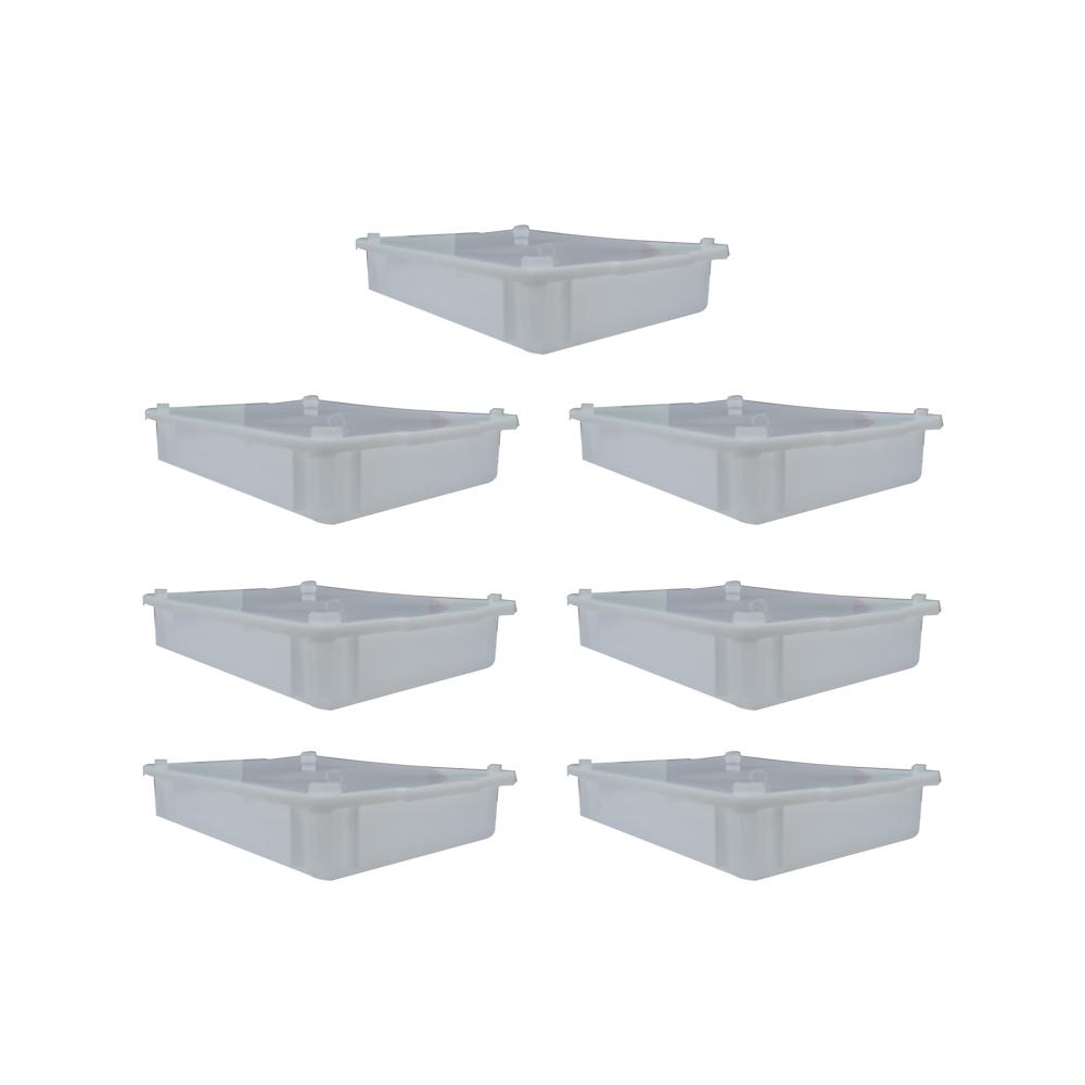 Caixa Plástica Branca Empilhável com Tampa 41X29X6 cm de 6,5 Litros S250 Kit 7 pçs