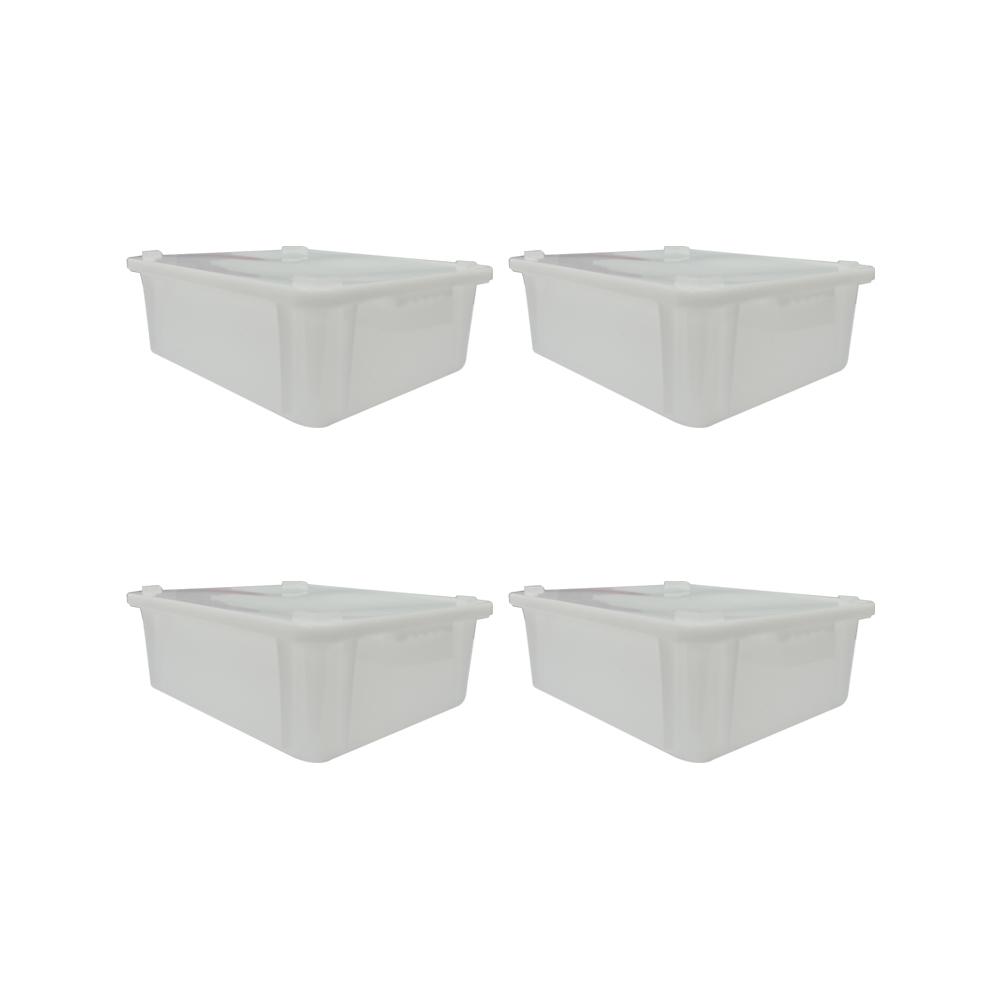 Caixa Plástica Branca Empilhável com Tampa 43X34X14 cm de 15 Litros S650  Kit 4 pçs