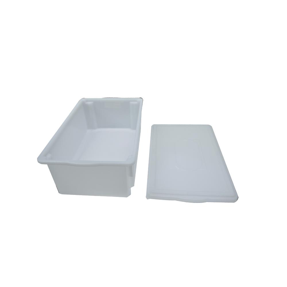 Caixa Plástica Branca Empilhável com Tampa 53X33X18 cm de 25 Litros S800  Kit 4 pçs