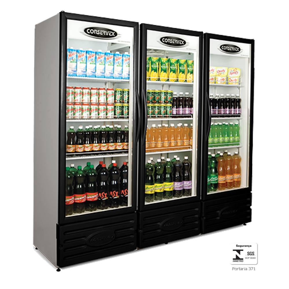 Expositor Refrigerado Vertical 3 Portas 1300 Litros Preto ERV1300P - Conservex
