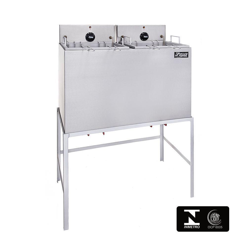 Fritadeira Elétrica Industrial Dupla Com Filtro de Água e Cavalete 220V Fire