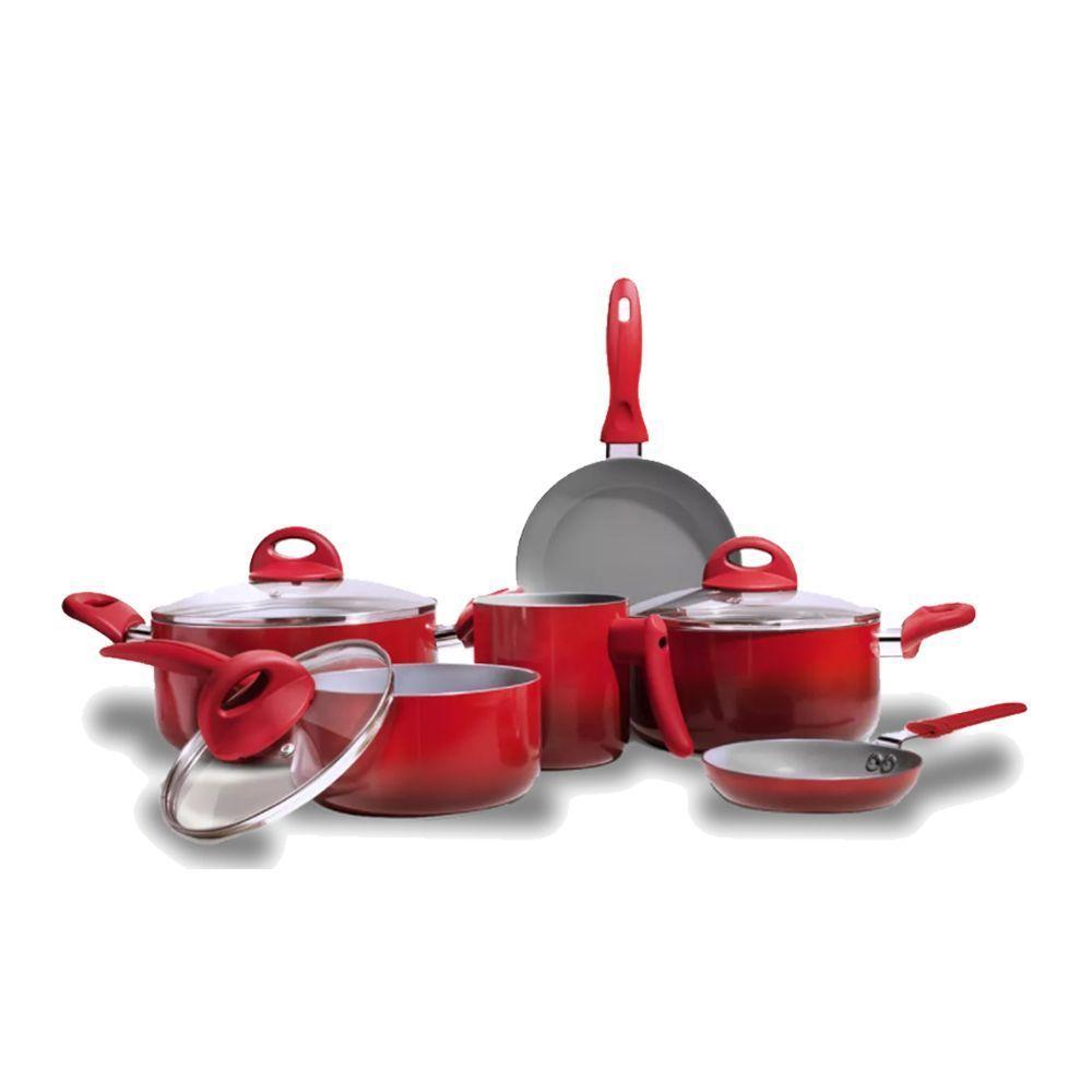 Jogo Panelas Ceramica Vermelho 6 Peças Ceramic Life 2.5 - Brinox