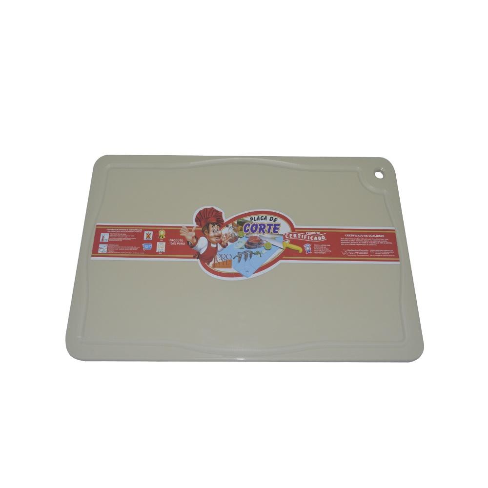 Placa de Corte Bege com Canaleta em Polietileno 1,5X25X37 cm Pronyl 129