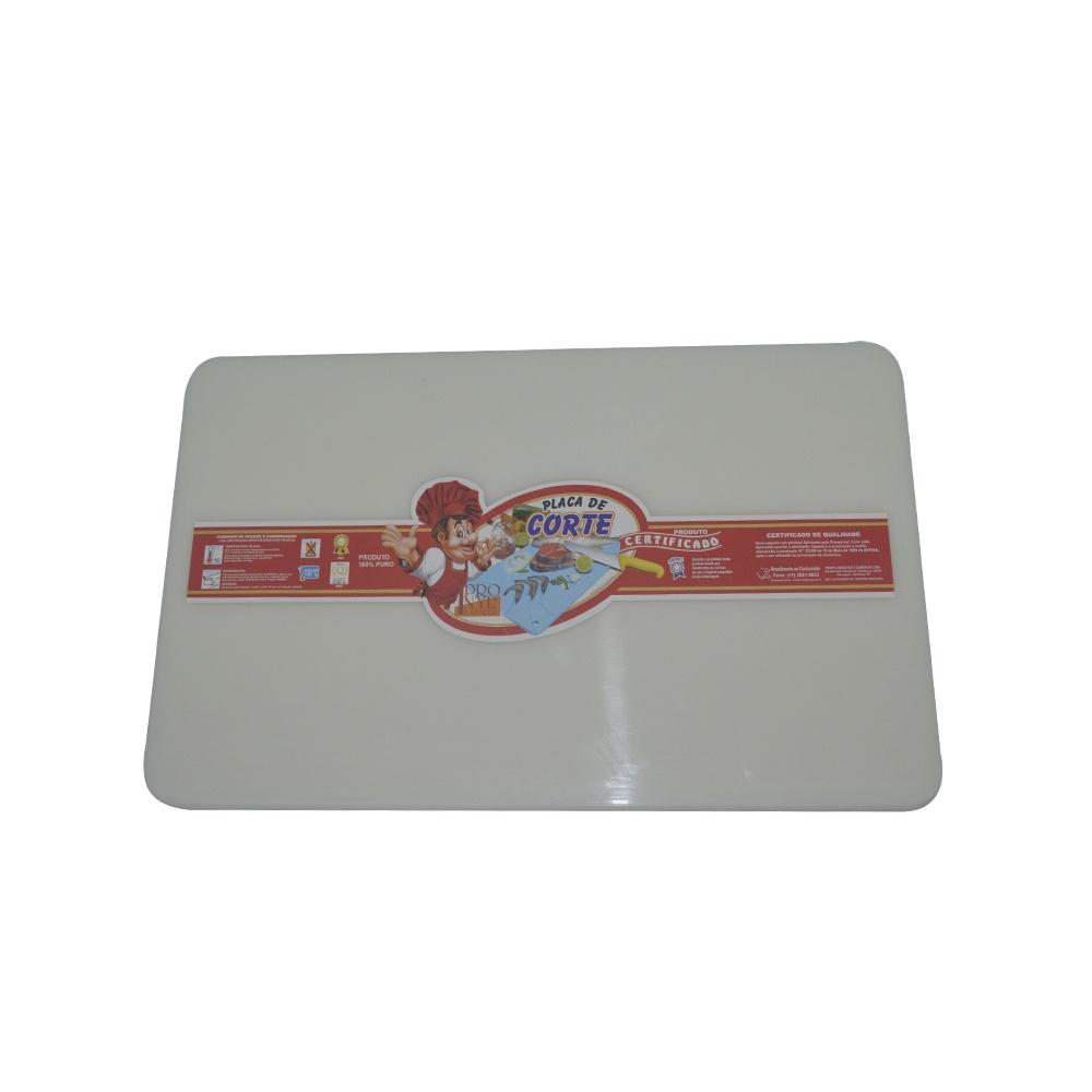 Placa de Corte Branca com Canaleta em Polietileno 1,5X25X37 cm Pronyl 131