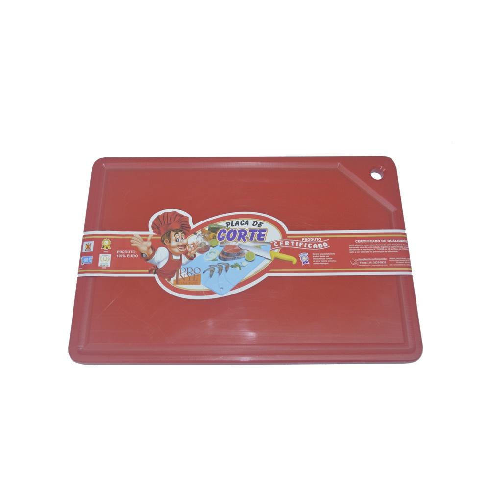 Placa de Corte Vermelha com Canaleta em Polietileno 1X30X50 cm Pronyl 155