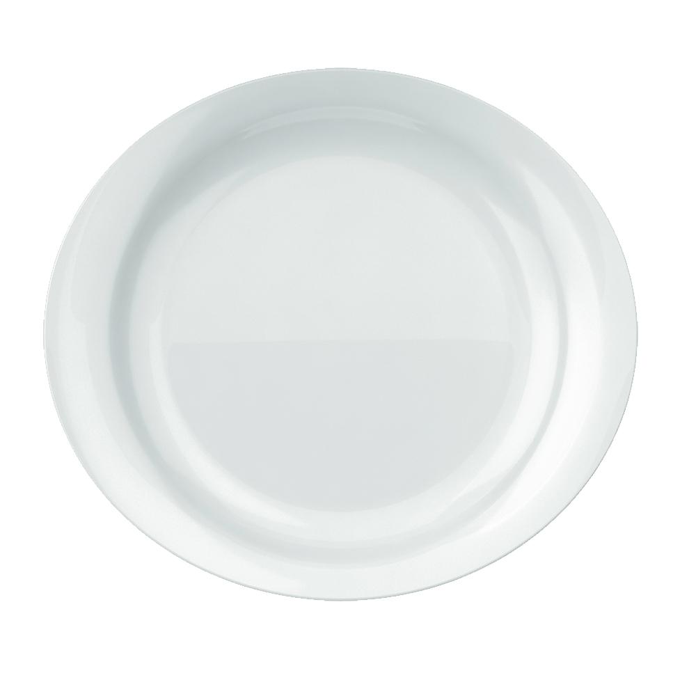 Prato Raso Churrasco Grande Oval Steak 30X27 cm Branco 12 pçs Nadir Figueiredo 5547