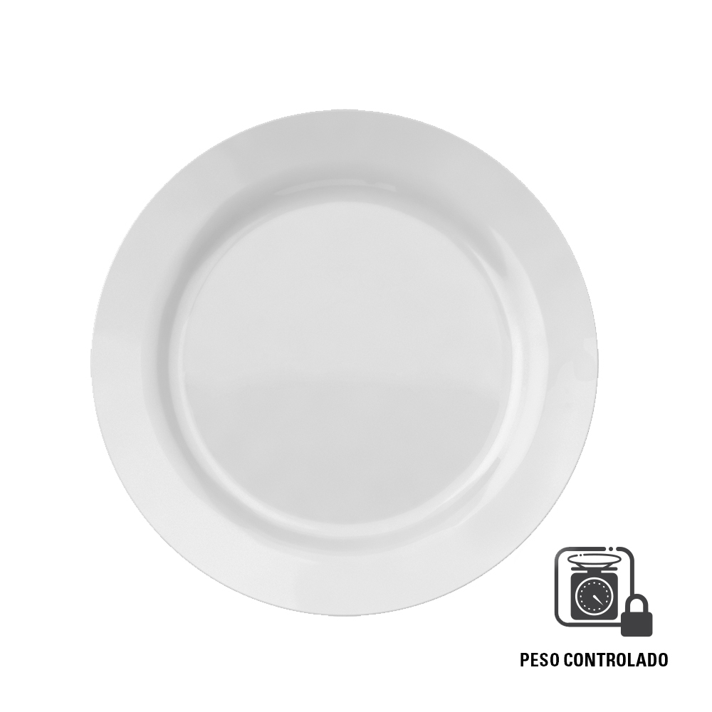Prato Raso Menu 26,5 cm Peso Controlado Branco 12 pçs Nadir Figueiredo 5543