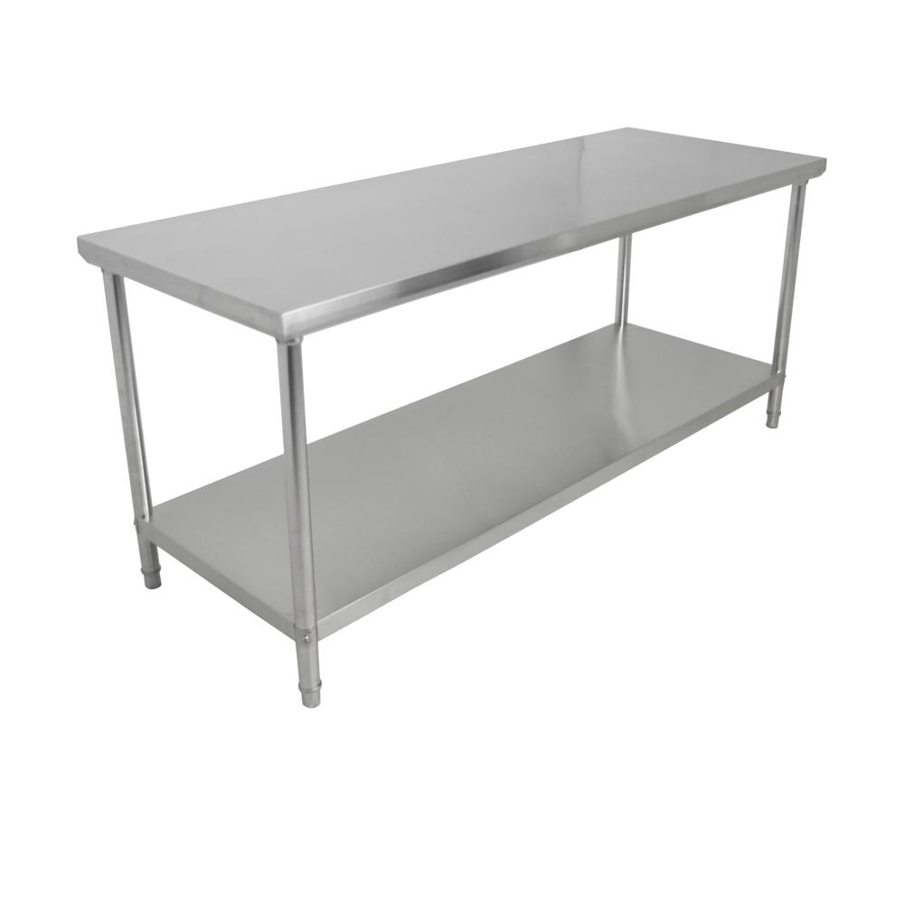 Mesa de Inox 150 X 70 x 85 cm com Prateleira Lisa Desmontável FrigoPro
