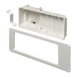 Arlington TV Box™ TVB613 Non-Metallic Recessed Box With Trim Plate, Plastic, 26 cu-in Capacity, 4 Gangs, 7 in L x 17 in W x 3.88 in H
