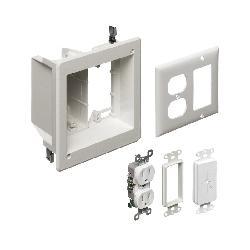 Arlington TV Box™ TVBR505K Power/Low Voltage Recessed Combination Box, Plastic, 18 cu-in Capacity, 2 Gangs, 6.942 in H x 6.254 in W x 3.75 in D