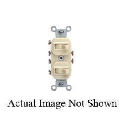 Leviton® 5243-T Traditional 3-Way Commercial Grade Duplex Non-Grounding Combination Switch, 20 A, 125 VAC, 1 hp