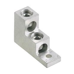 Panduit® Pan-Lug™ LAM2SA300-38-3 2-Barrel Vertical Mechanical Terminal Lug, 6 AWG to 300 kcmil Stranded Aluminum/Copper Conductor, 3/8 in Stud, 1 Bolt Hole, Aluminum