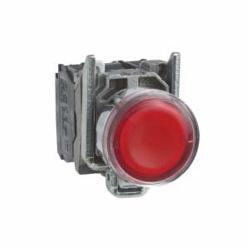 Schneider Electric Harmony™ XB4BW34B5 Illuminated Pushbutton, 22 mm, 1NO-1NC Contact, Flush/Spring Return Operator, Red