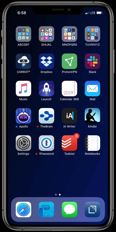 February 2019 iPhone Home Screen