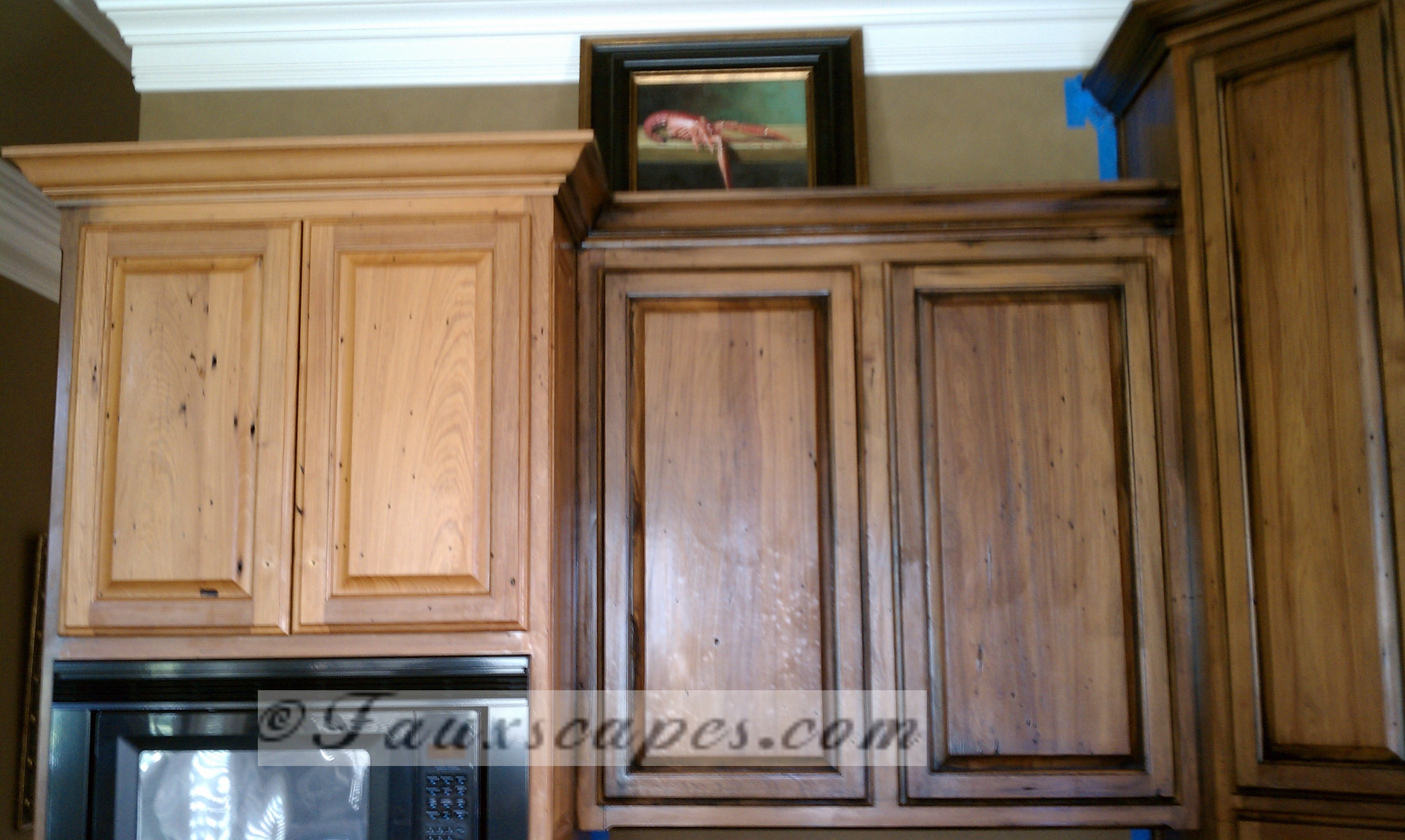 Antiquing Kitchen Cabinets Before And After