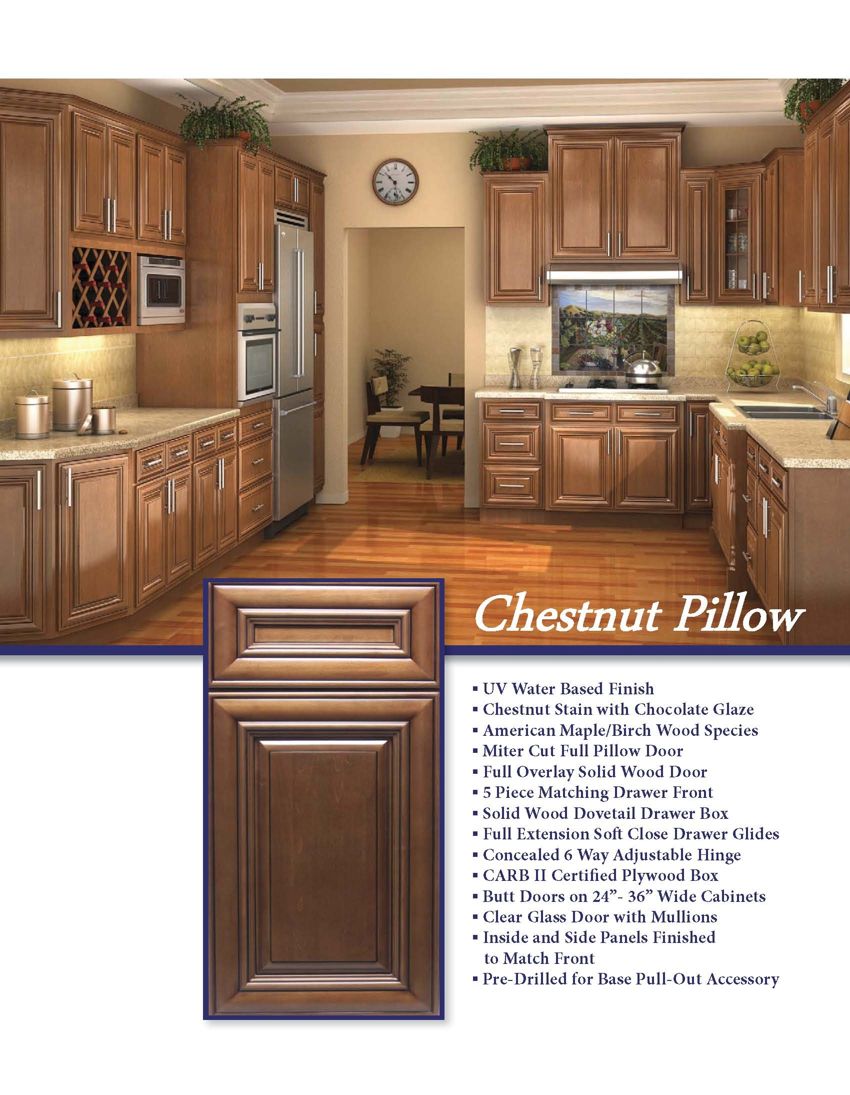 Chestnut Brown Kitchen Cabinets