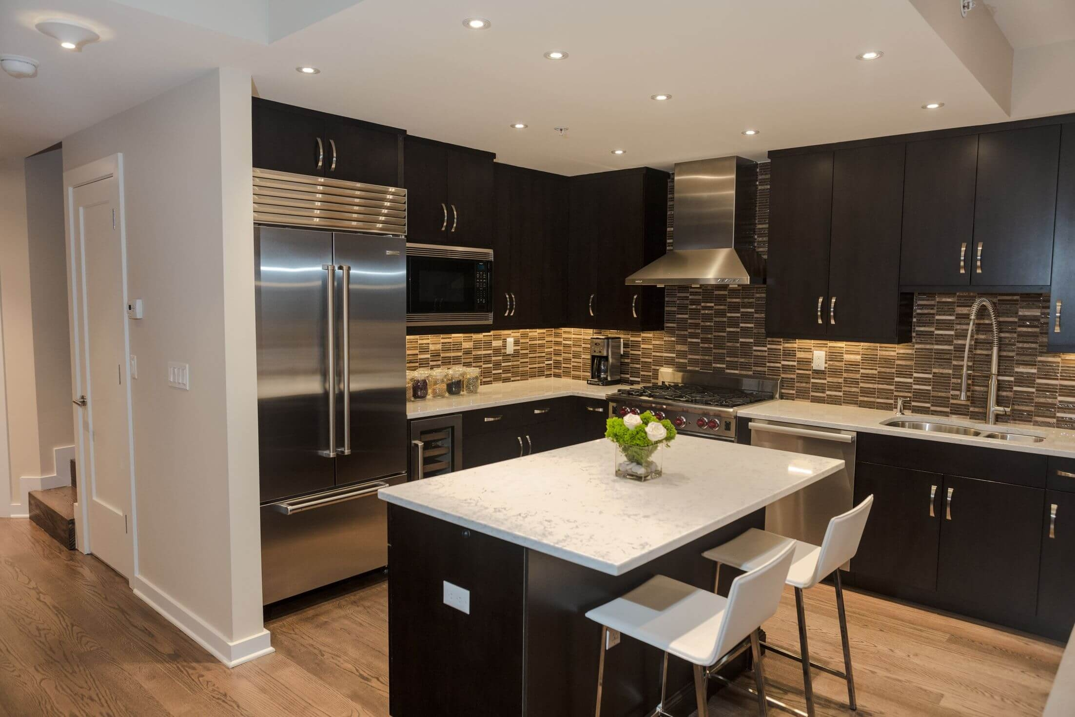 Kitchen Black Cabinets White Countertops