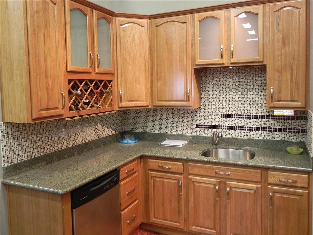 Small Kitchen With Oak Cabinets