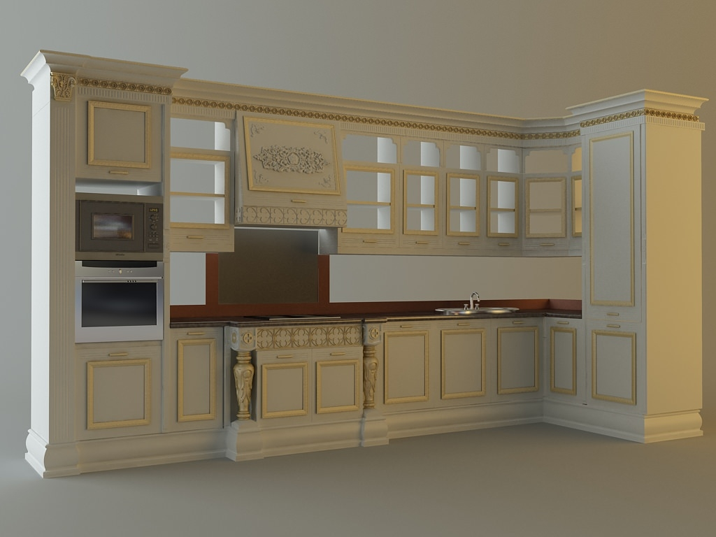 3d Model Kitchen Cabinets