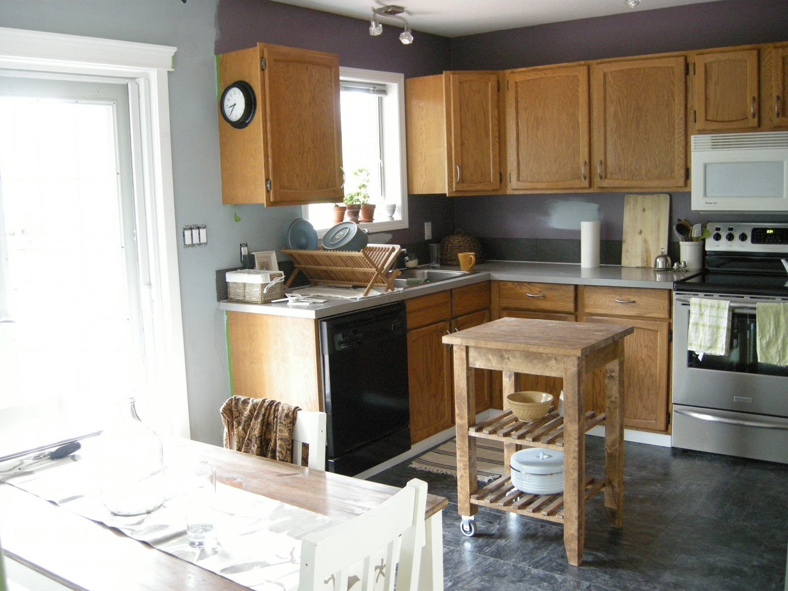 Brown Kitchen Cabinets With Gray Walls