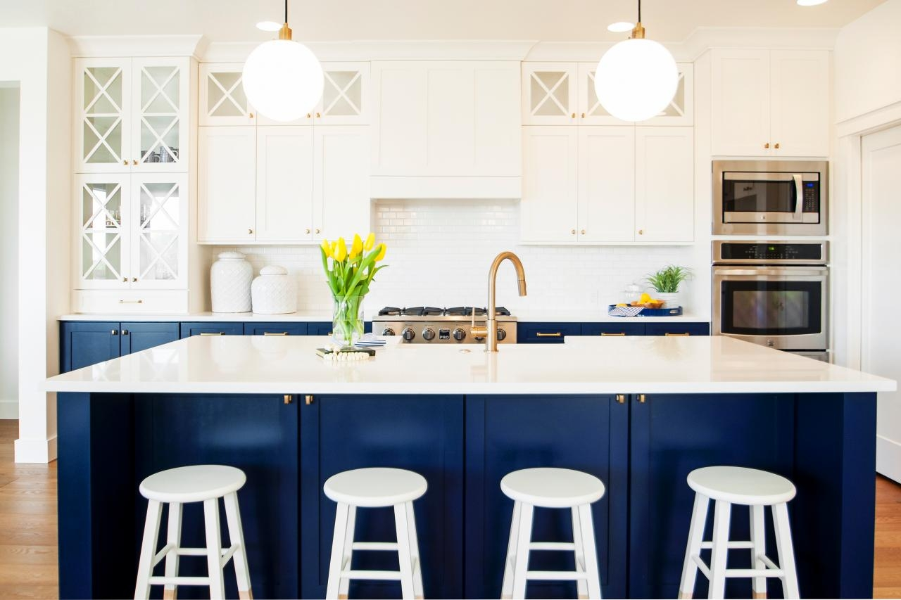 Distressed Navy Blue Kitchen Cabinets