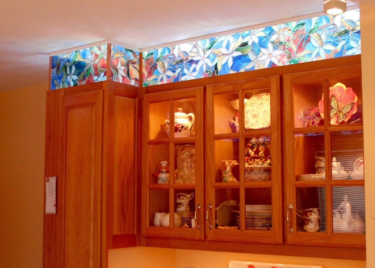 Faux Stained Glass Kitchen Cabinets