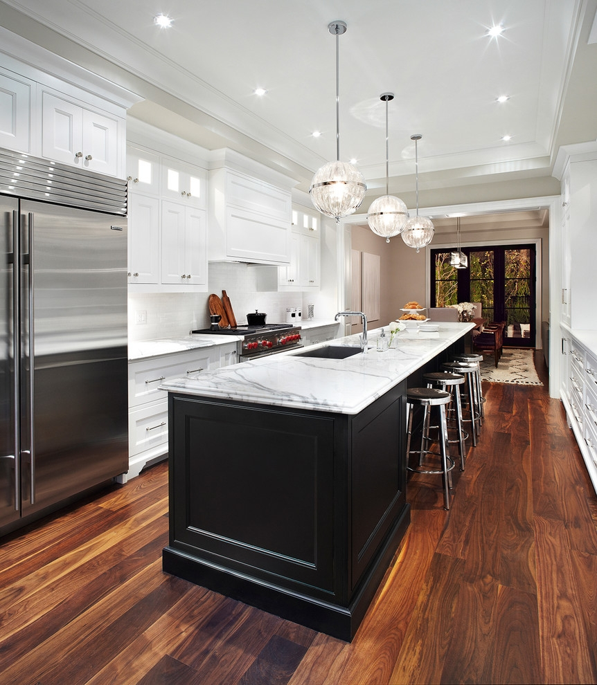 Kitchen Cabinets With Black Island