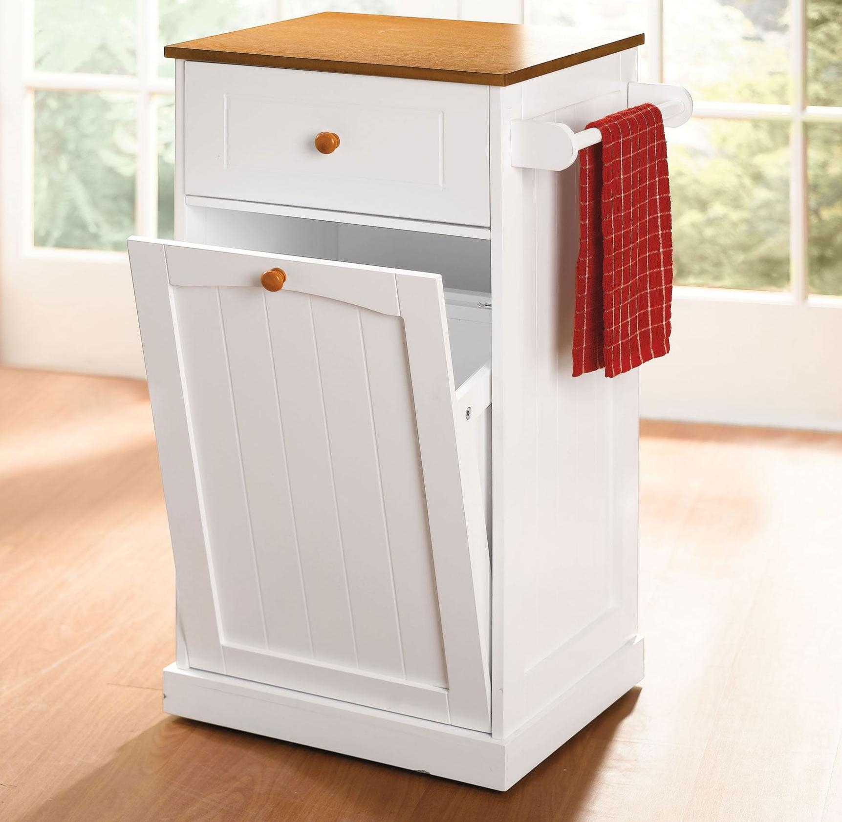 Kitchen Storage Cabinet With Trash Bin