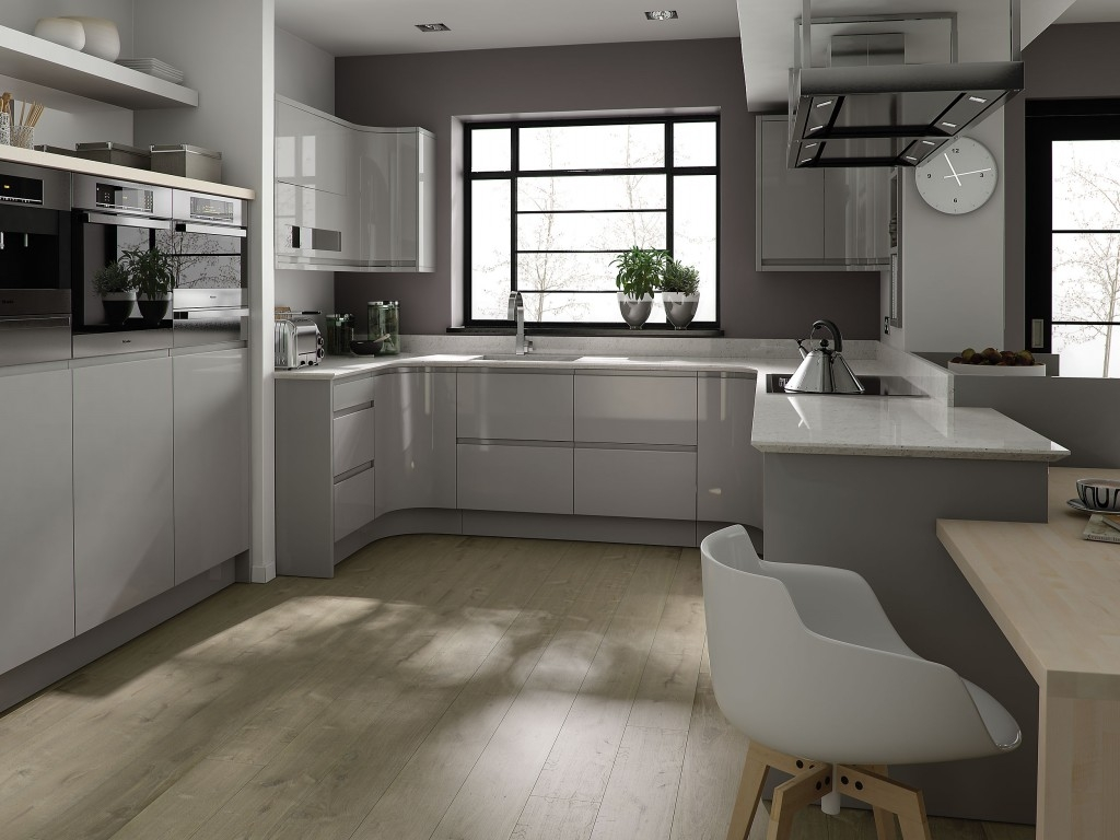 Light Grey Wood Kitchen Cabinets