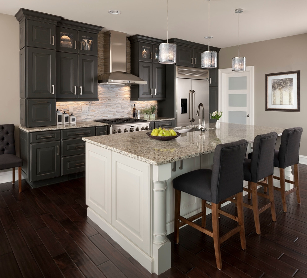 Transitional Kitchen With Maple Cabinets