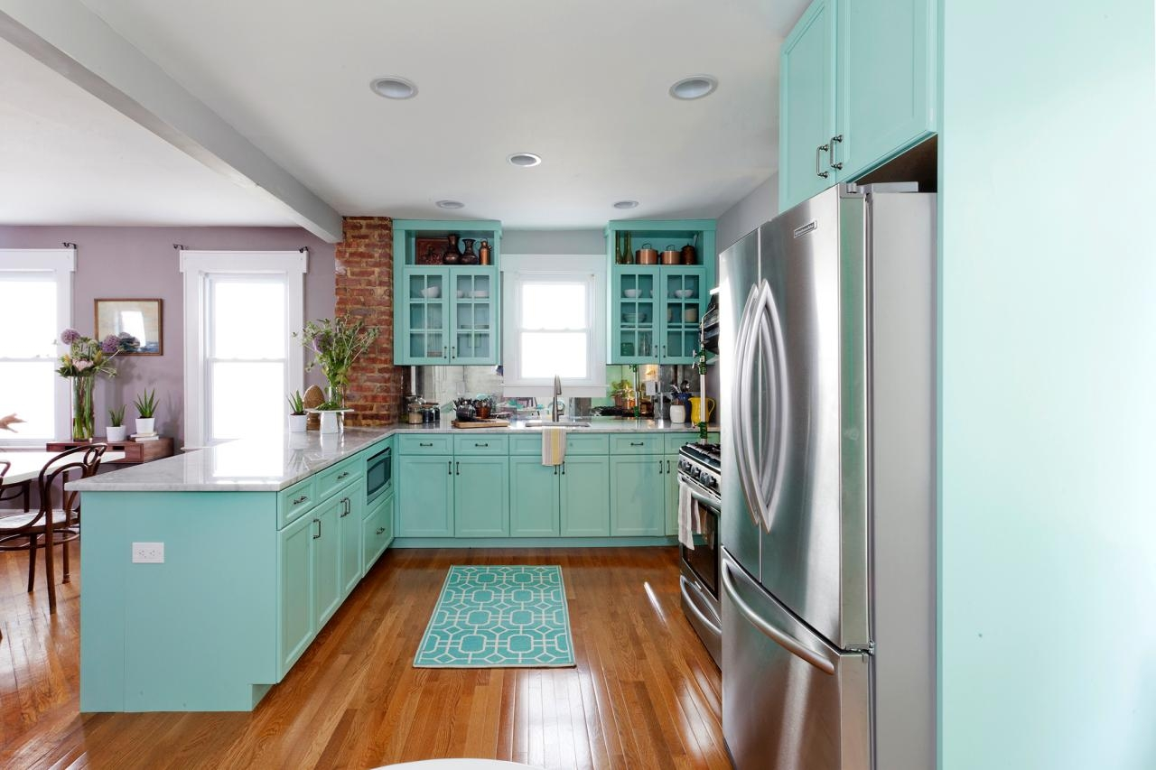 Turquoise Colored Kitchen Cabinets1280 X 853