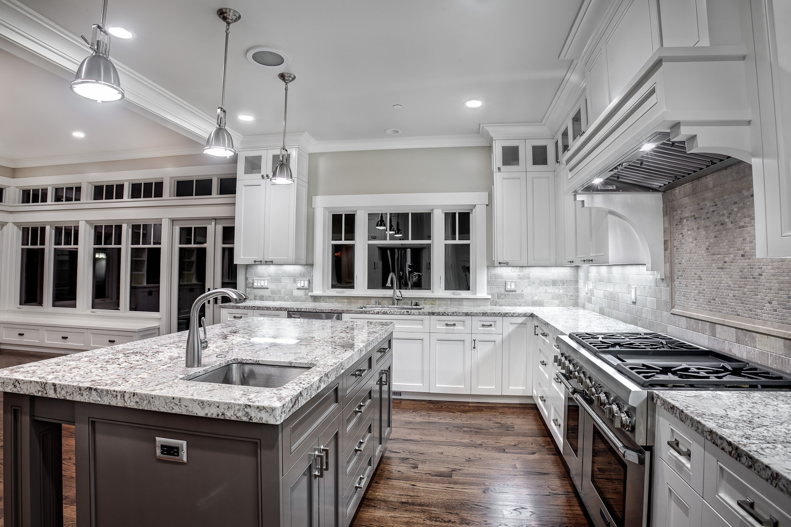 White Kitchen Cabinets Gray Granite Countertops