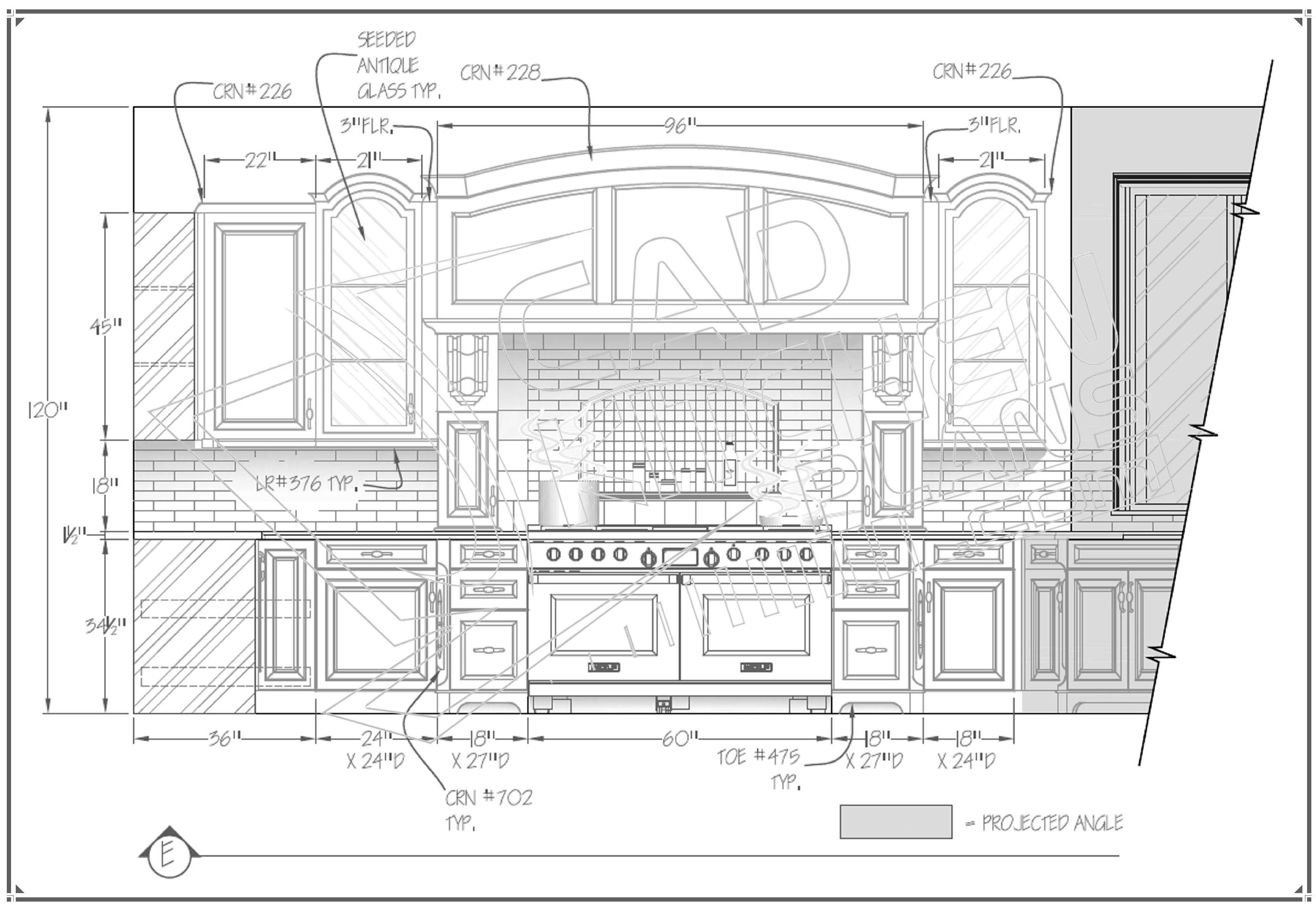 Autocad Drawing For Kitchen Cabinets